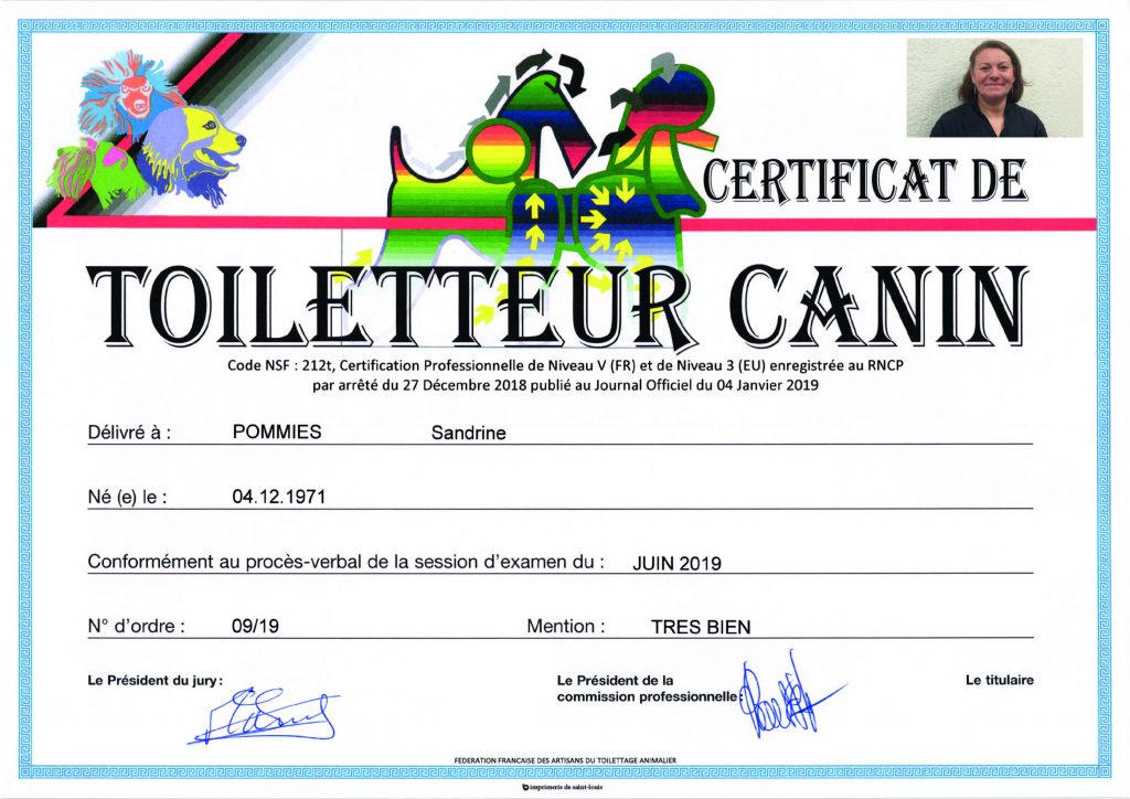Certificat de Toiletteur Canin, le diplôme de Sandrine Pommies